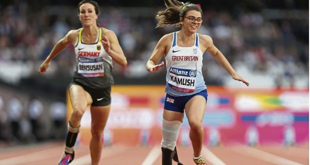 Sophie Kamlish holds the world record for the T44 100m sprint. Photo: REX