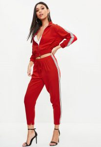 petite-red-sports-side-stripe-joggers