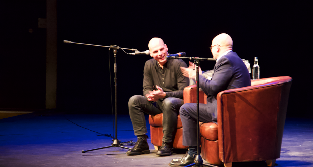 Yanis Varoufakis (left) with Kingston University's Professor of Shakespeare Studies, Richard Wilson, March 19.  Photo: Sofie Løchen Smedsrud