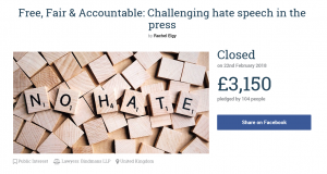 Rachel Elgy's crowd funding page failed to reach its target