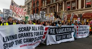 Students march for free education in London last November, including calling for living grants for all. Photo: Rex