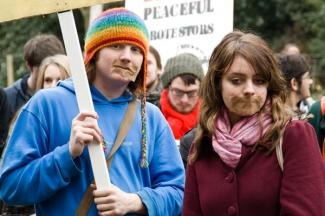 Nottinghamshire protesters defend freedom of speech GOOGLE IMAGE