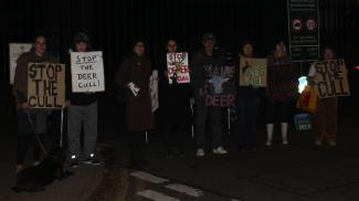 Campaigners gathered outside Richmond Park to protest against the deer cull