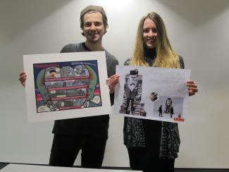 Carl Hoare and Stefanie Tschirky with their work