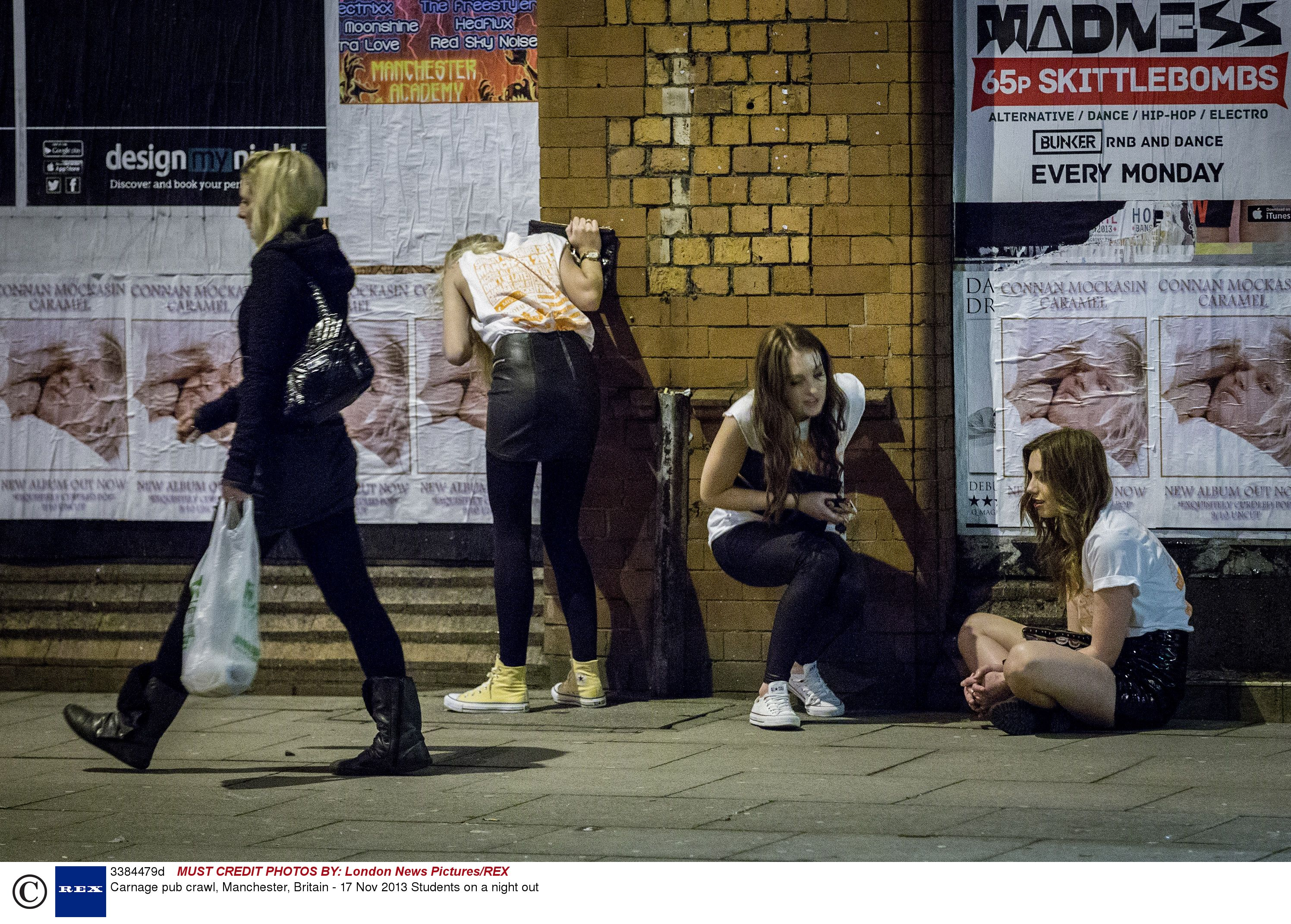 Drunk students in Manchester