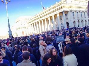 Estimated crowd of 100,000 at Place de la Comédie, Bordeaux on Sunday