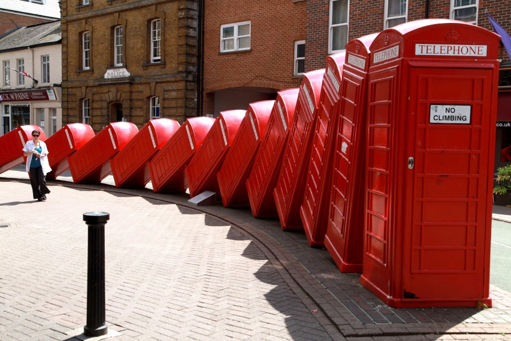 Tories and Lib Dems squabble over Kingston's iconic tumbling telephone boxes