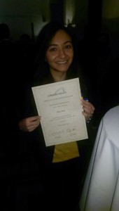 KU BA User Experience Design student Mann Kaur, winner of London is my Campus competition with her certificate of award. [Image Credits: Mann Kaur]