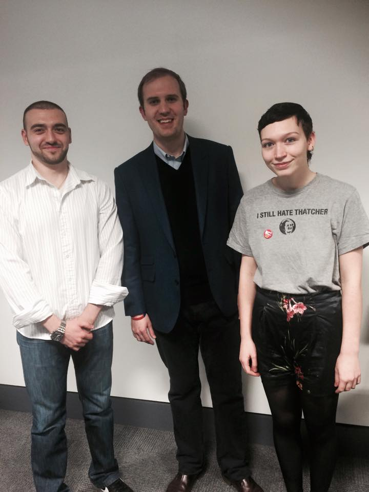 """The organisers of """"Meet your local candidate"""", President of Kingston University's Politics Society, Peter Tzonev and KUSU LGBT Officer, Amy Bush, alongside Conservative candidate James Berry. Photo: Faith Gaiger-Roscoe"""