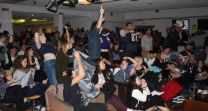 Fans celebrating as New England Patriots come back to win the Super bowl against Seattle Seahawks