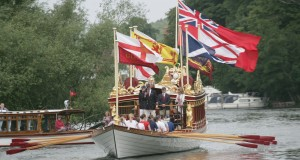 The Gloriana sailing on the Thames - REX Features