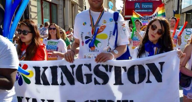 KU LGBT+ society president Adam Perry, media officer Kath Lopez (left) and secretary Rose Martin (right) at London Pride 2015