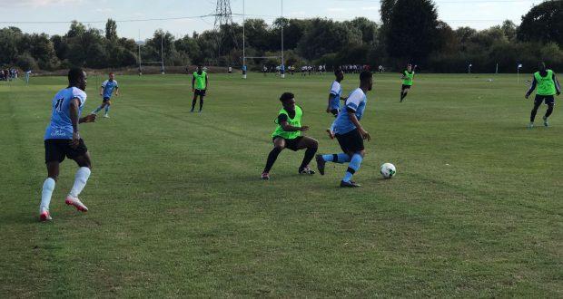 KU's midfielder Amani Nyelia breaking from midfield in the first half