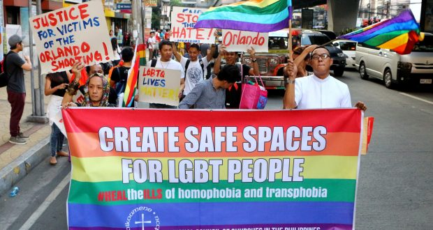 A group of people marching to raise awareness of the LGBT community needing safe spaces. Photo by: Gregorio B Dantes Jr/Pacific/REX/Shutterstock