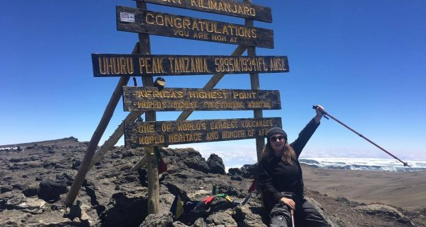 Sophie Stedman on the top of Kilimanjaro   Photo by: Sophie Stedman
