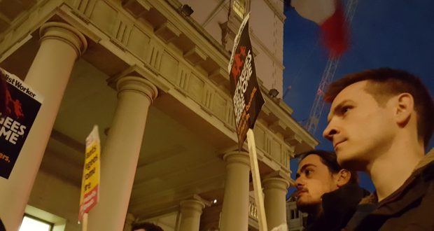 KU Socialist Workers Party society president Richard Donnelly at the protest