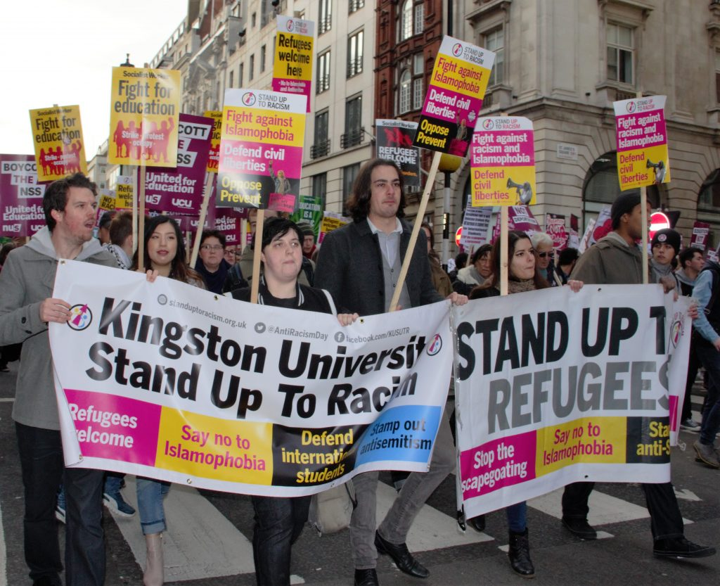 Kingston University students protest at London NUS demonstration