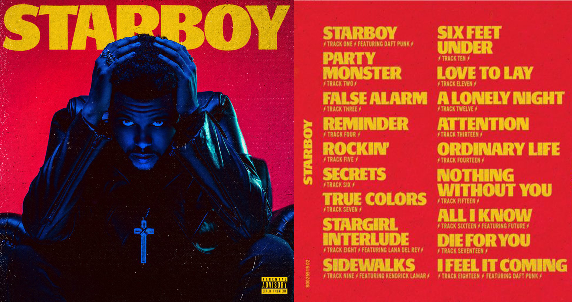 Starboy album artwork and track listing - photo courtesy of XO records