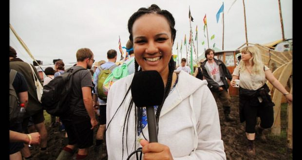 Sarah Hunt presenting at Glastonbury festival Photo credit: Harry Rutter