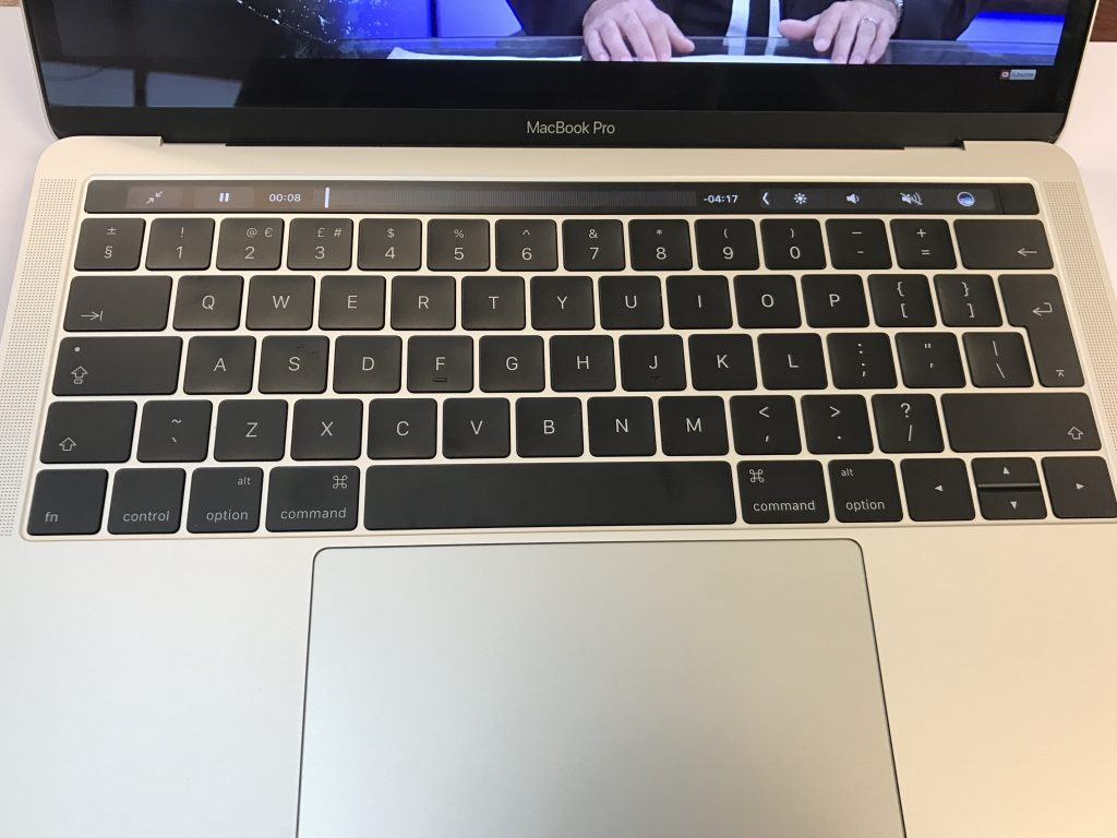 """Touch Bar, Touch ID and the new """"Scissor Mechanism"""" keyboard. Photo credit: Dino Groshell"""