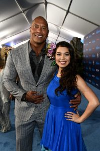Mandatory Credit: Photo by Buckner/Variety/REX/Shutterstock (7433898am) Dwayne Johnson and Auli'i Cravalho 'Moana' film premiere, Arrivals, Los Angeles, USA - 14 Nov 2016