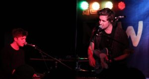 Ben Fletcher, left, and Tom Higham, right, performs their debut album Silhouettes at New Slang. Photo: Oda Ottesen