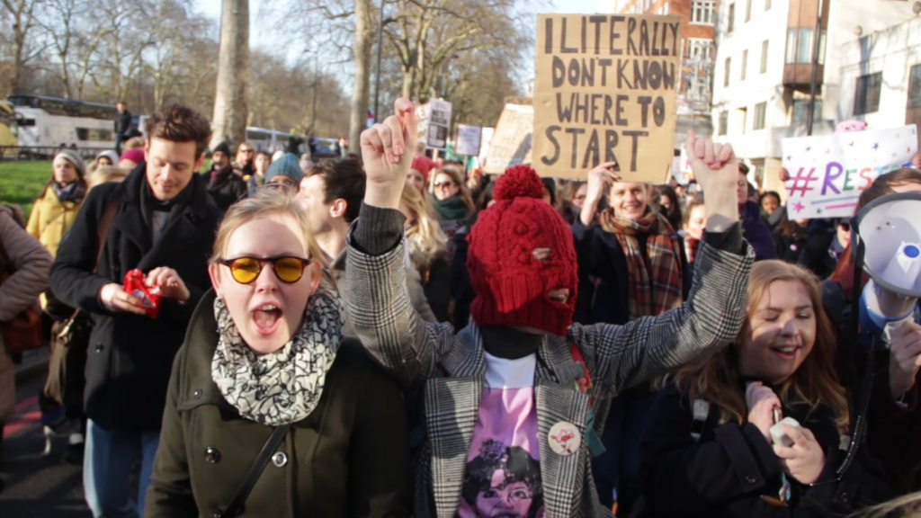 Video: KU students attend the Women's March on London
