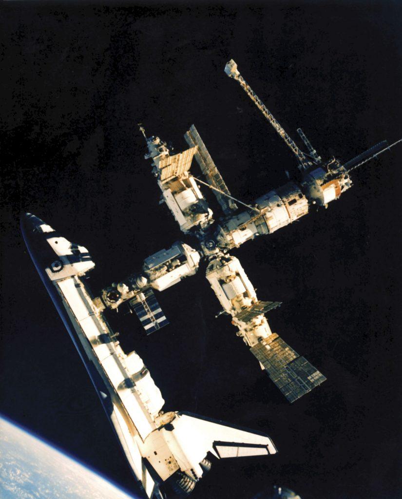 Photo credit: Encyclopaedia Britannica/UIG/REX/Shutterstock (2556678a) Space Shuttle Atlantis docks with Mir Education