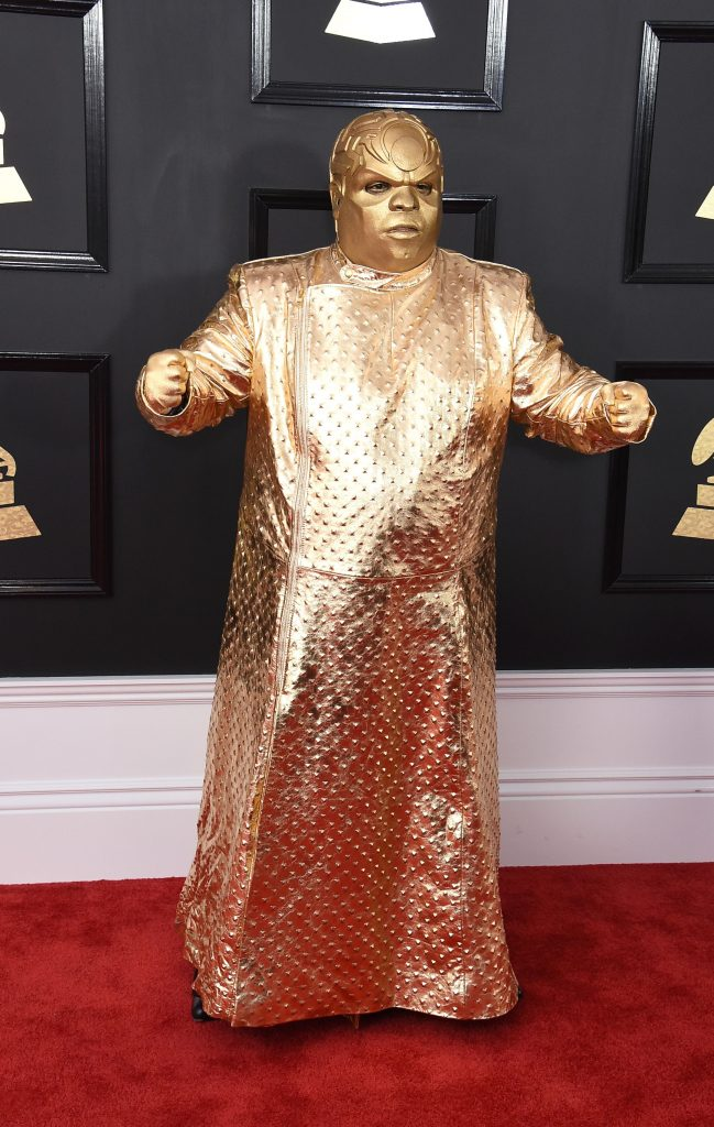 Photo by Jim Smeal/BEI/Shutterstock Cee Lo Green dressed in gold and shimmered down the red carpet at the Grammys.