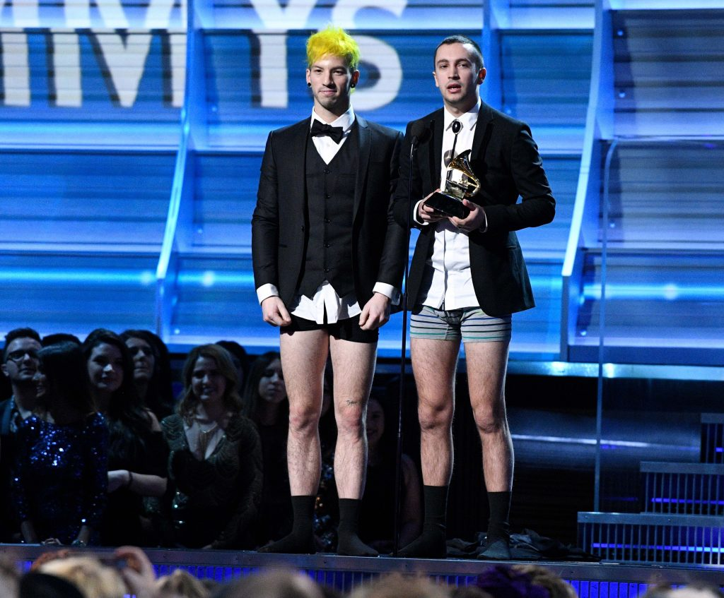 Photo by ddp USA/REX Twenty One Pilots accepts Best Pop Duo Group Performance in their undies.