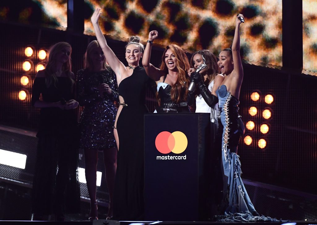 Photo credit: Rex Features Little Mix accepting their award for Best British Single.