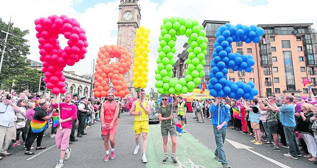 Gay Pride event supporting the LGBTQ+ community. Photo: Rex Features