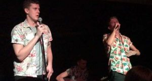 Toby Everett gets a little too into his performance of 'Let's get boozy'.