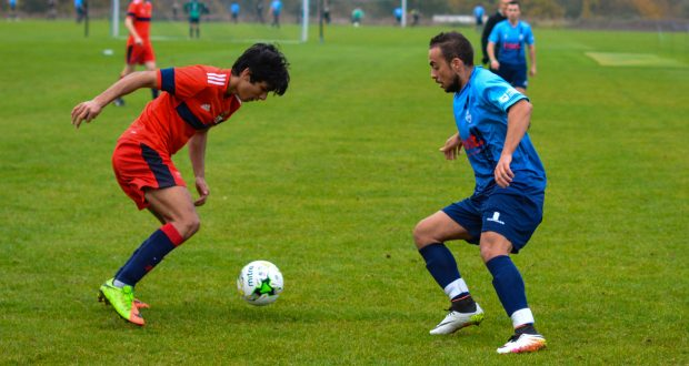 Hadi Haboushi attempts to beat his man as the Cougars beat Imperial College London 4-1. Photo: Sunniva Kolostyak