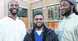 Moazzam Begg (centre) with Jamal Udeen al-Harith (left) and Martin Mubanga (right)