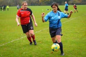 Striker Pauline Hontanosas scored a hat-trick during the match Photo: Sunniva Kolostyak