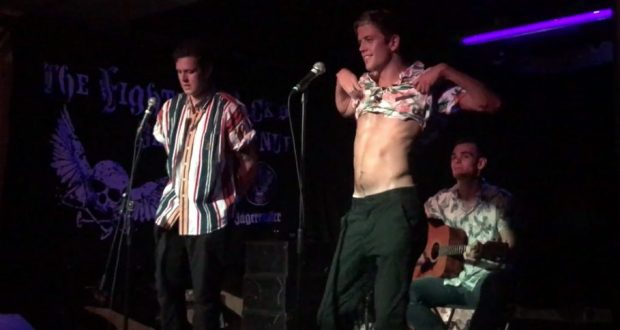 Alex and George avert their gaze as Toby strips off on stage   PHOTO: EDEN RUDDICK