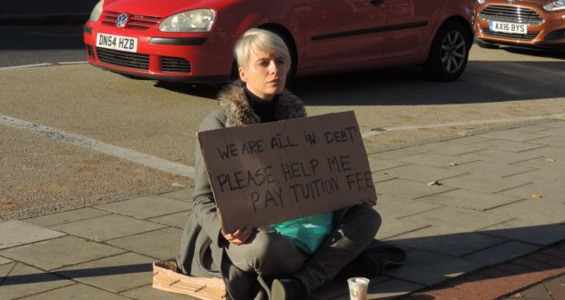 Kaczmarczyk protesting outside Penrhyn Road campus   Photo: Marta Delbecchi