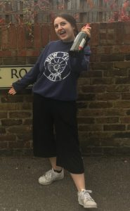 Tess Edwards proudly re-visiting the road where she broke into Hoskins house, bottle in hand Photo: Becca Difford-Smith