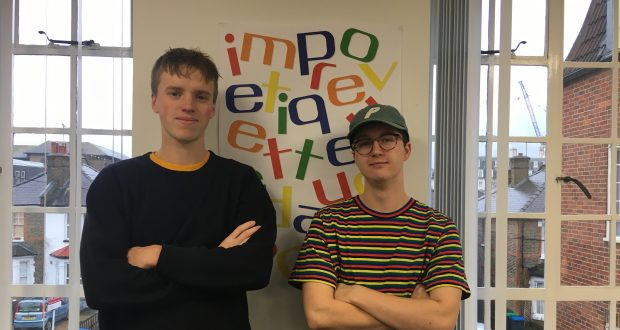 Price (left) and Jeffries (right) won a competition to design a window display for Foyles
