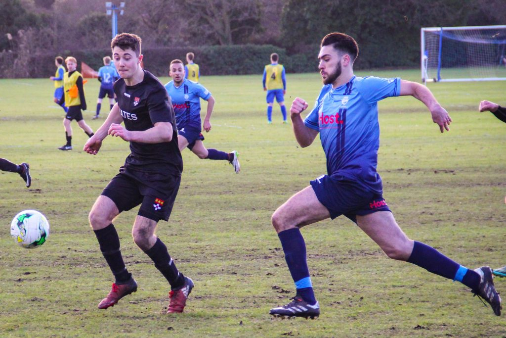 Marco De Sousa chases down a through ball as Kingston look to take the lead. Photo: Louie Chandler