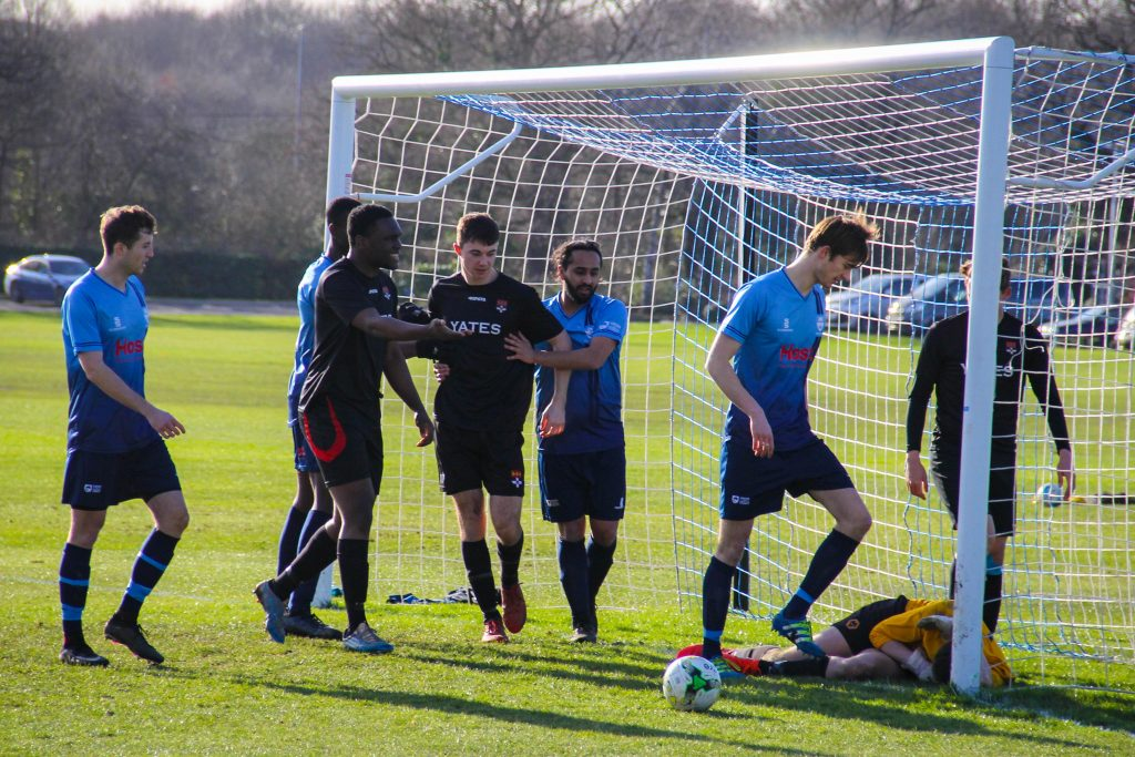 The challenge did not go down too well with the Reading players. Photo: Louie Chandler