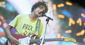 Andrew VanWyngarden hitting the stage. Photo: REX