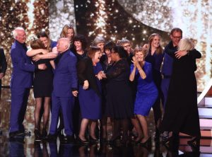 The Missing People Choir when they discovered they got through to the final. Source: Splash News