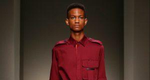 Sones-Dawkins walking the catwalk at Milan fashion week Photo: Marcus Tondo
