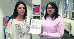 Sosa Moreno (left) and Sanchez Godenzi (right) with their petition. Photo: Hannah Roberts
