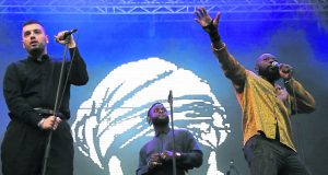 Young Fathers live in show Photo: REX
