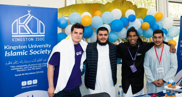 Petar Lachev, on the left, stands with members of the Kingston Islamic Society at the Unions 2018 Freshers Fayre. Credit: Union of Kingston Students Facebook page