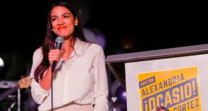 Alexandria Ocasio-Cortez speaks in New York after winning her Congressional district race and becoming the youngest member of the US Senate to ever be elected.  Credit: REX