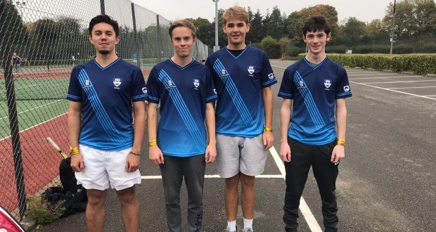 Left to right: Aidan Ellis, Louis Parker, Tristan Wynne and Andrew Shortall.  Photo: Kingston University Tennis Club